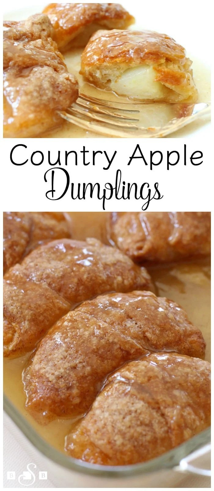 Country Apple Dumplings made easy with few ingredients- an apple, brown sugar, crescent dough & lemon lime soda! Simple recipe for apple dumplings in caramel sauce that everyone loves. Easy #apple #recipe from Butter With A Side of Bread