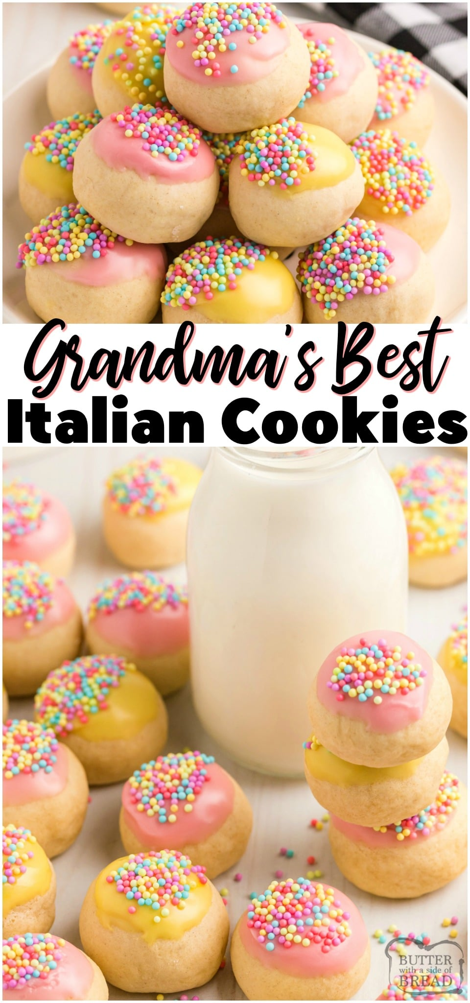 Italian cookies with frosting are perfectly sweet and tender cookies with a simple vanilla glaze. Lovely Italian Cookies topped with a sweet glaze and colorful sprinkles for any occasion!