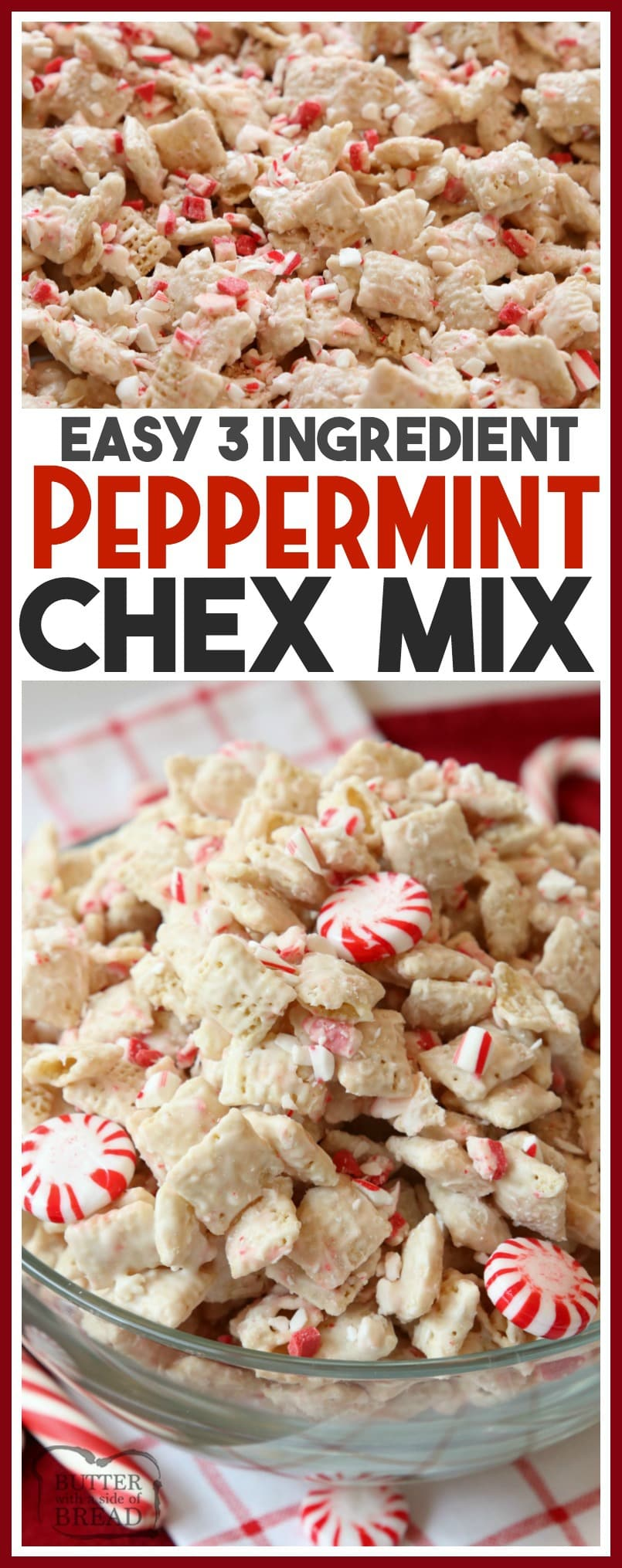 Peppermint Chex Mix made with only 3 ingredients in a few minutes! A simple recipe for a festive, sweet peppermint treat that's perfect for holiday parties.