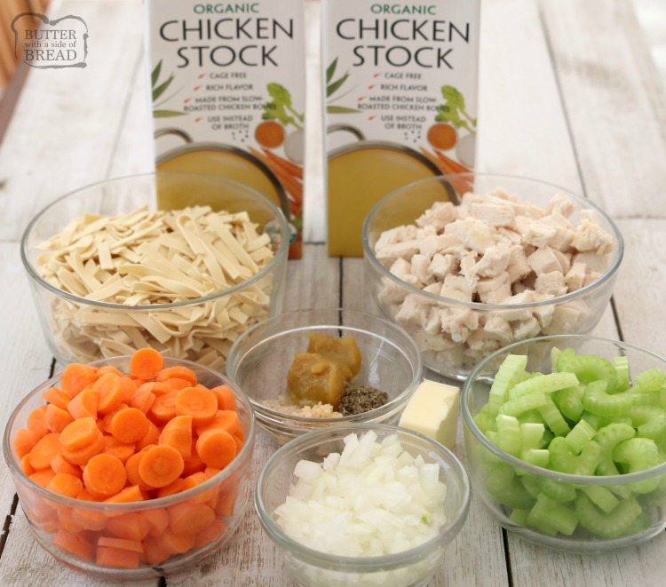ingredients for chicken noodle soup recipe