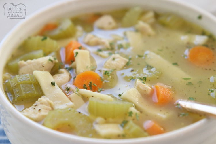 Classic Chicken Noodle Soup recipe made with tender chicken, carrots, celery, onion and a flavorful sage broth. Perfect comfort food recipe for cold days or when you're sick!