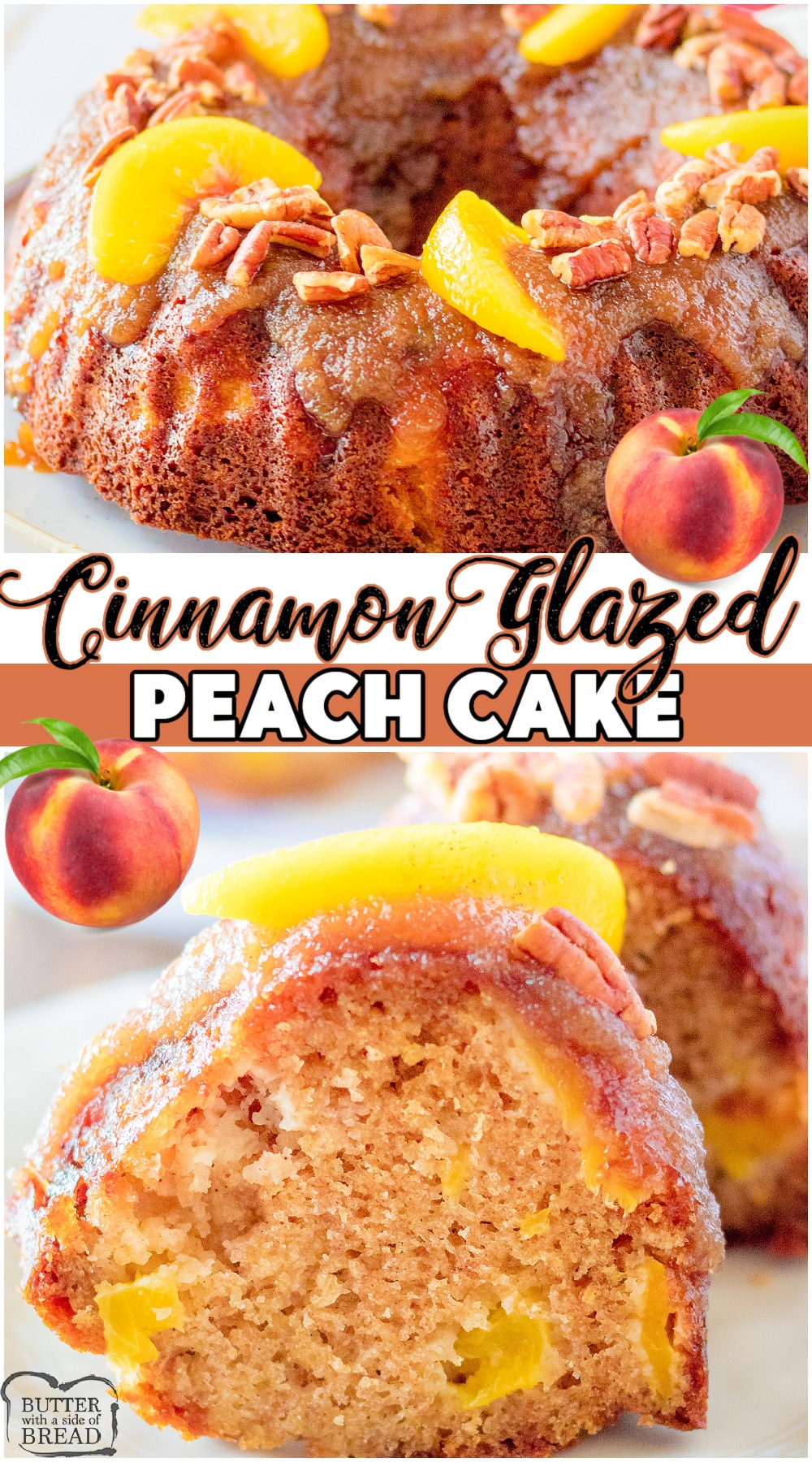 Peach Cake with Cinnamon glaze topping made with classic ingredients, including fresh peaches! Lovely spiced cake with chunks of flavorful peaches with a fabulous cinnamon topping. Great way to use fresh peaches! #cake #peach #baking #peaches #easyrecipe from BUTTER WITH A SIDE OF BREAD