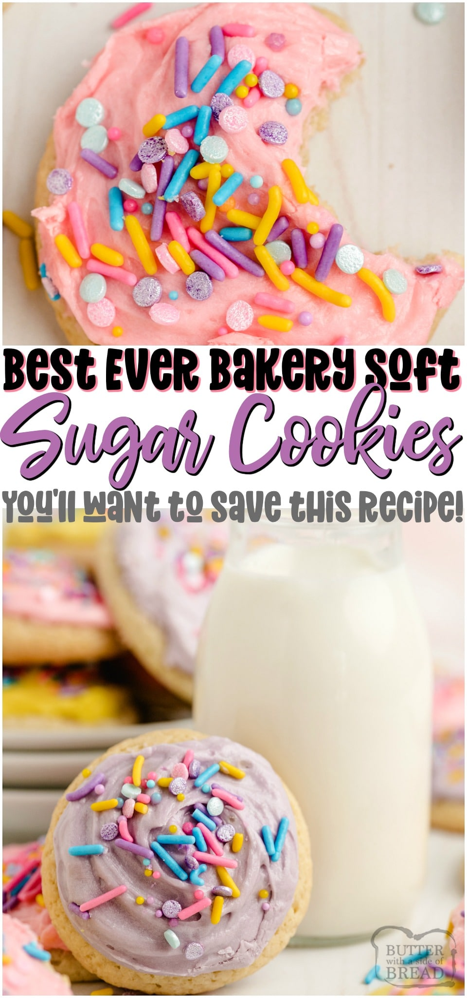 Super Soft Sugar Cookies made with butter, sugar, flour & sour cream for great flavor and bakery soft texture! Softest sugar cookies you've ever had- & they decorate beautifully! Save this recipe!#sugarcookies #cookies #softcookies #holidaybaking #cutoutcookies #baking #dessert #recipe from BUTTER WITH A SIDE OF BREAD