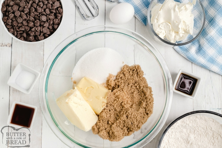 Ingredients in chocolate chip cookie bars with cheesecake filling