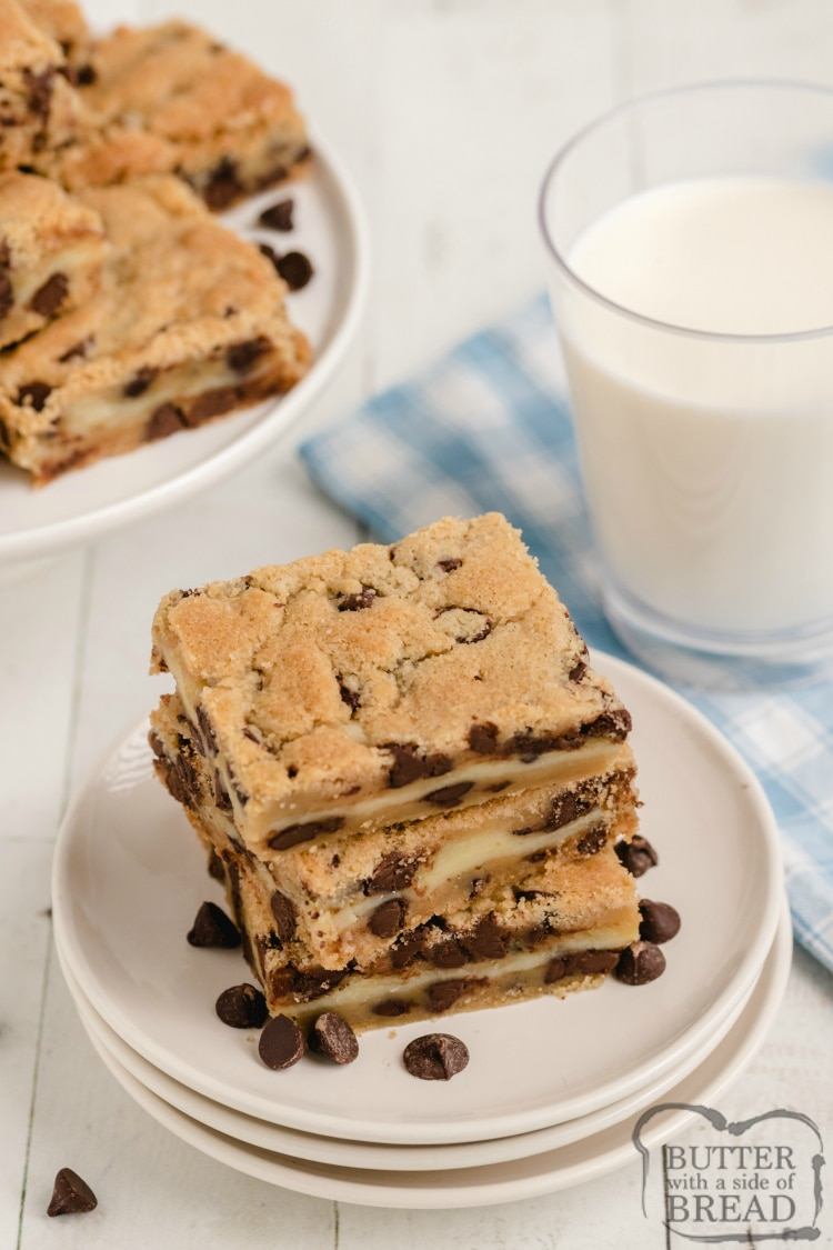 Chocolate Chip Cookie bars with a glass of milk