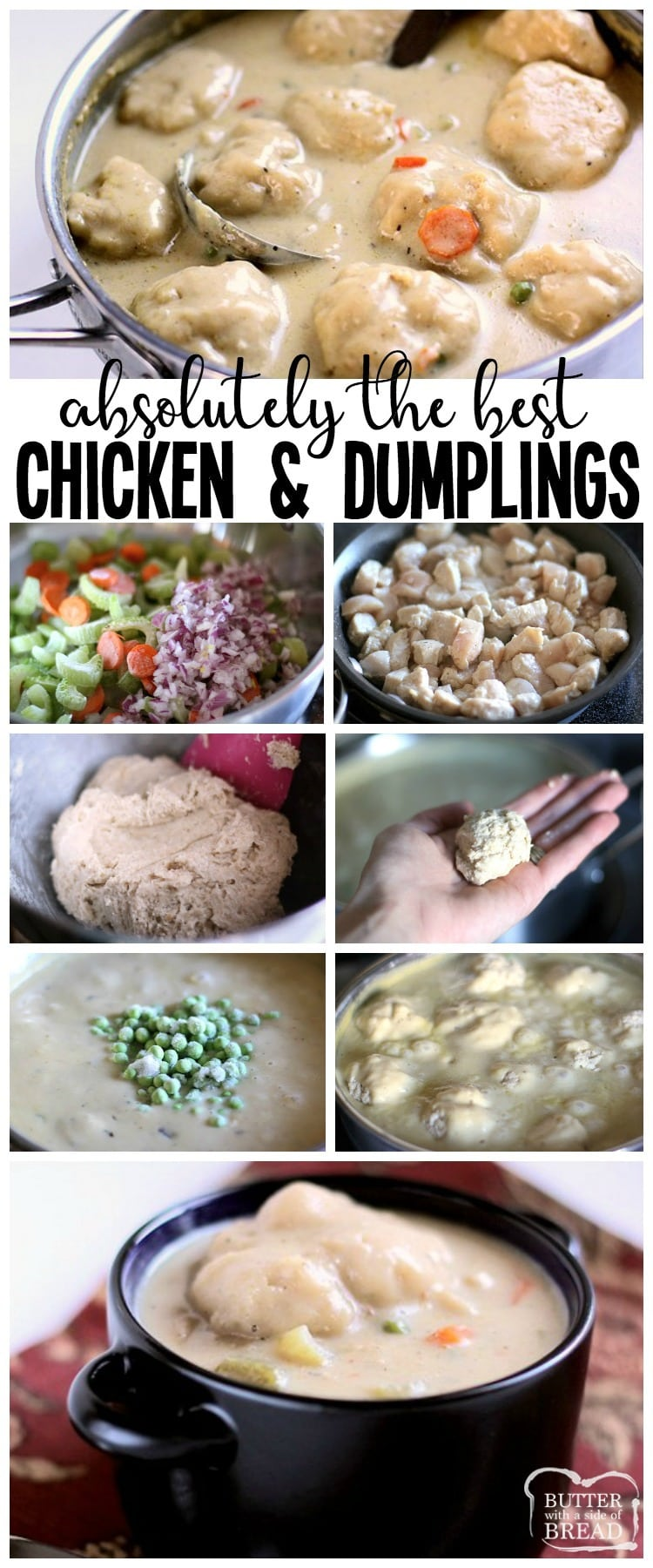 Chicken and Dumplings recipe made with juicy chicken, fresh vegetables and homemade biscuit dumplings. Seriously THE BEST homemade dumplings you've ever tasted. Simple tips to make this the best chicken dumplings dinner ever. #chicken #dinner #dumplings #chickenanddumplings #recipe #food