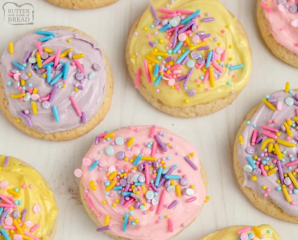 Super Soft Sugar Cookies made with butter, sugar, flour & sour cream for great flavor and soft texture! Softest sugar cookies you've ever had- & they decorate beautifully! Save this recipe!