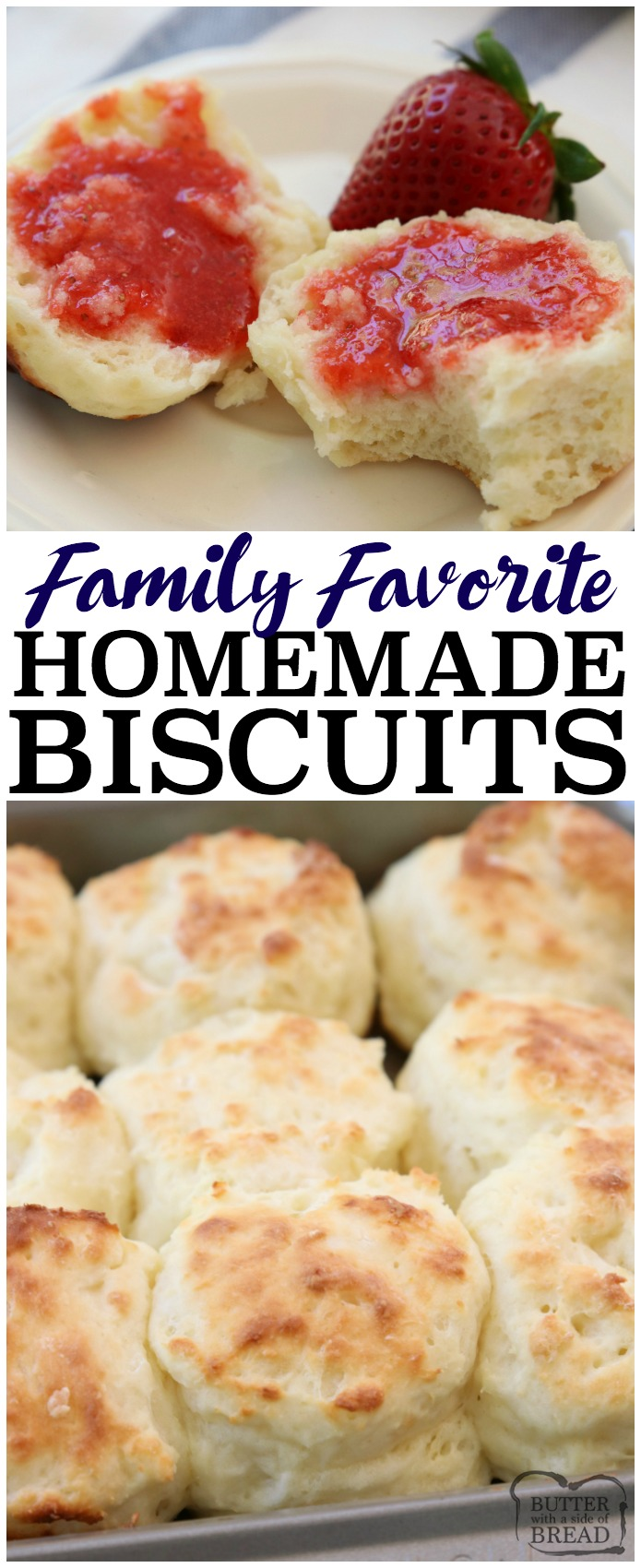 Easy Sour Cream Biscuit Recipe made from scratch in minutes with common ingredients. Perfect soft, flaky texture with fantastic butter flavor. This will be your new favorite biscuit recipe! #homemade #biscuit #recipe #biscuits #bake #food #dinner #bread #quickbread from BUTTER WITH A SIDE OF BREAD