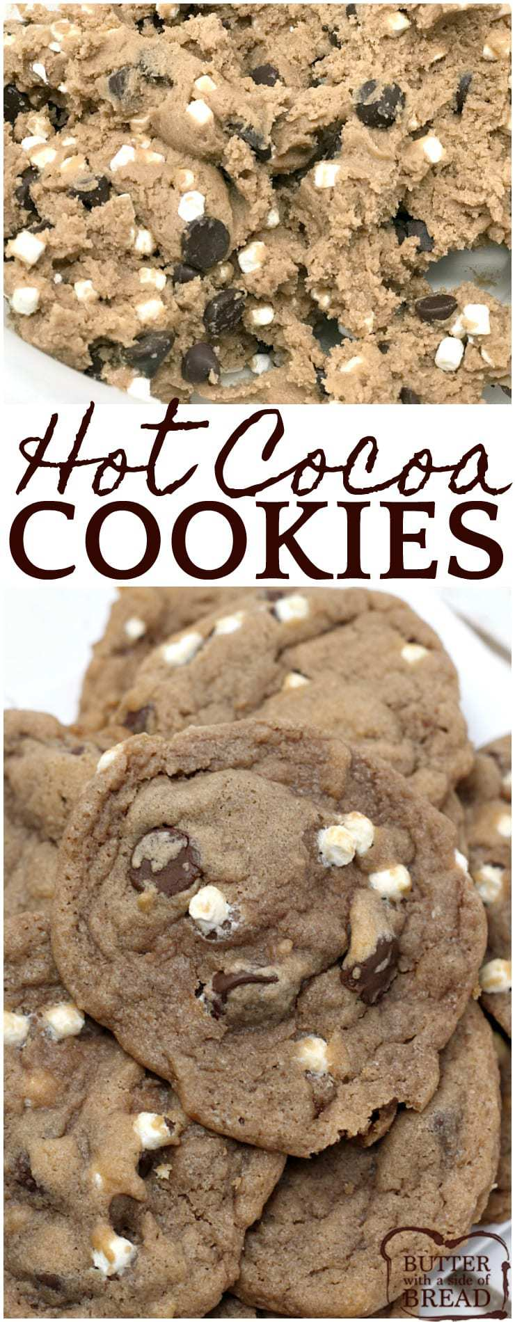 Hot Cocoa Cookies are the perfect winter treat combination with hot cocoa, #chocolate, and #marshmallow bits all baked into one delicious #cookie! Insanely delicious cookie #recipe from Butter With A Side of Bread