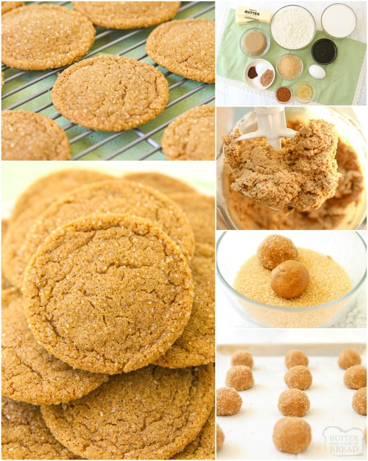 Chewy Ginger Cookies made with molasses and a lovely blend of holiday spices. Perfect soft Ginger Molasses Cookies for Christmas!