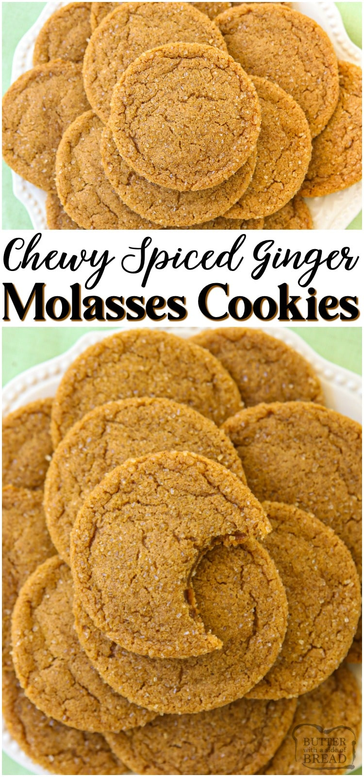 Spiced Ginger Cookies made with molasses and a lovely blend of holiday spices. Perfect soft Ginger Molasses Cookies for Christmas! #ginger #baking #cookies #spiced #molasses #Christmas #holidaybaking #ChristmasCookies from BUTTER WITH A SIDE OF BREAD