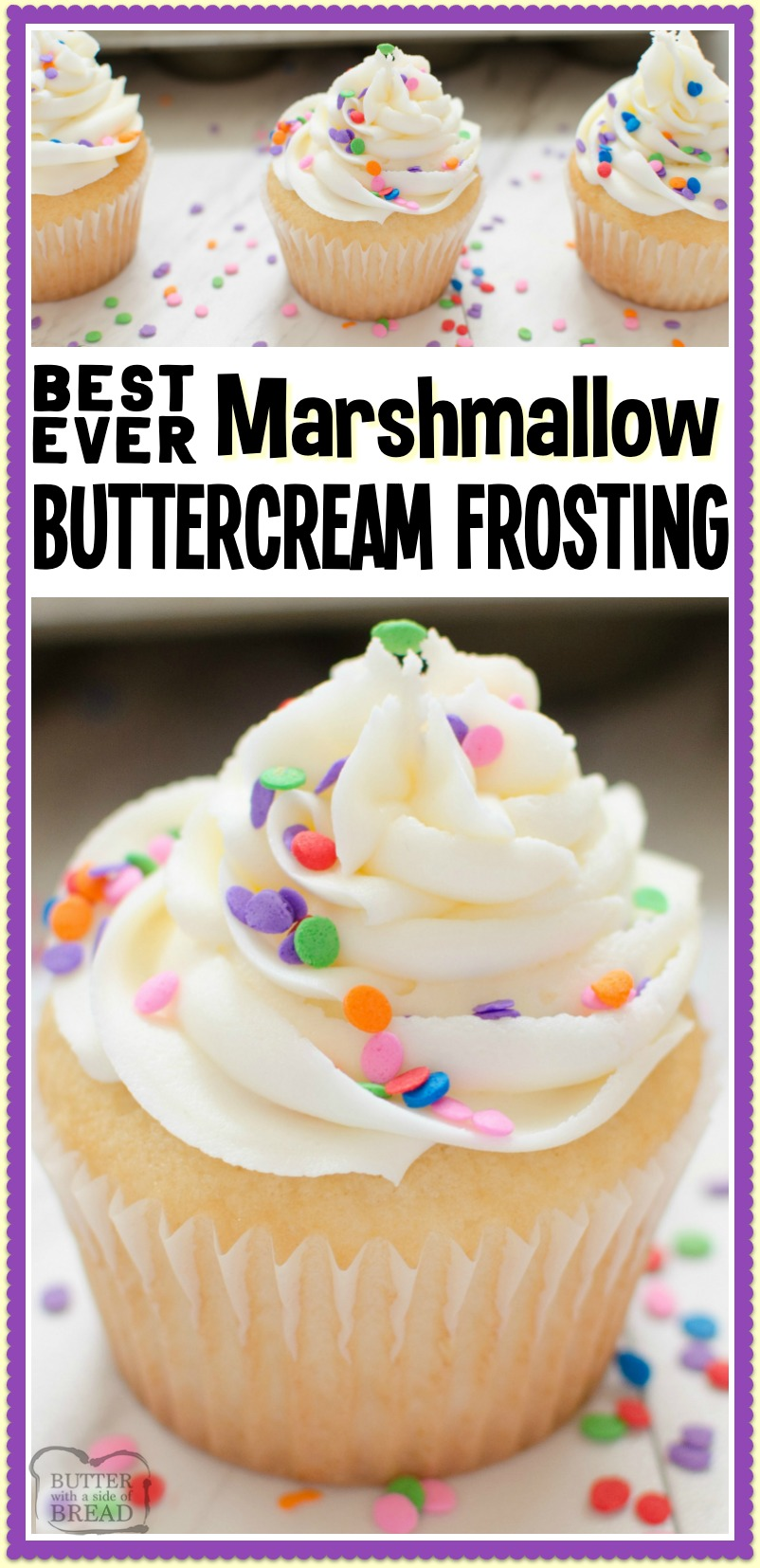 Best Ever Marshmallow Buttercream Frosting is the most delicious homemade buttercream frosting recipe you'll ever taste! Made in minutes with just 5 ingredients; everyone adores this marshmallow buttercream recipe. #frosting #buttercream #butter #marshmallow #baking #dessert #recipe from BUTTER WITH A SIDE OF BREAD