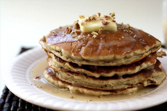 Banana Pecan Pancakes.Butter with a Side of Bread