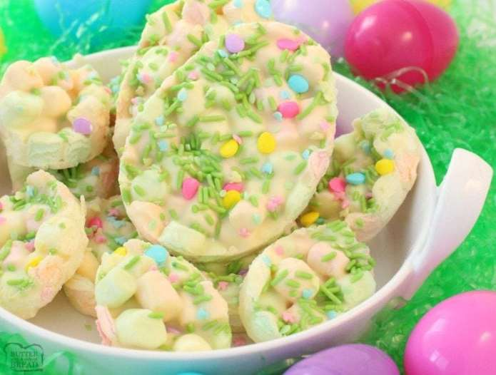 Easter Marshmallow Bark is one of my favorite Easter desserts! Just 4 ingredients and a few minutes to make this cute and festive Easter treat. Everyone enjoys our Easter Marshmallow Bark!