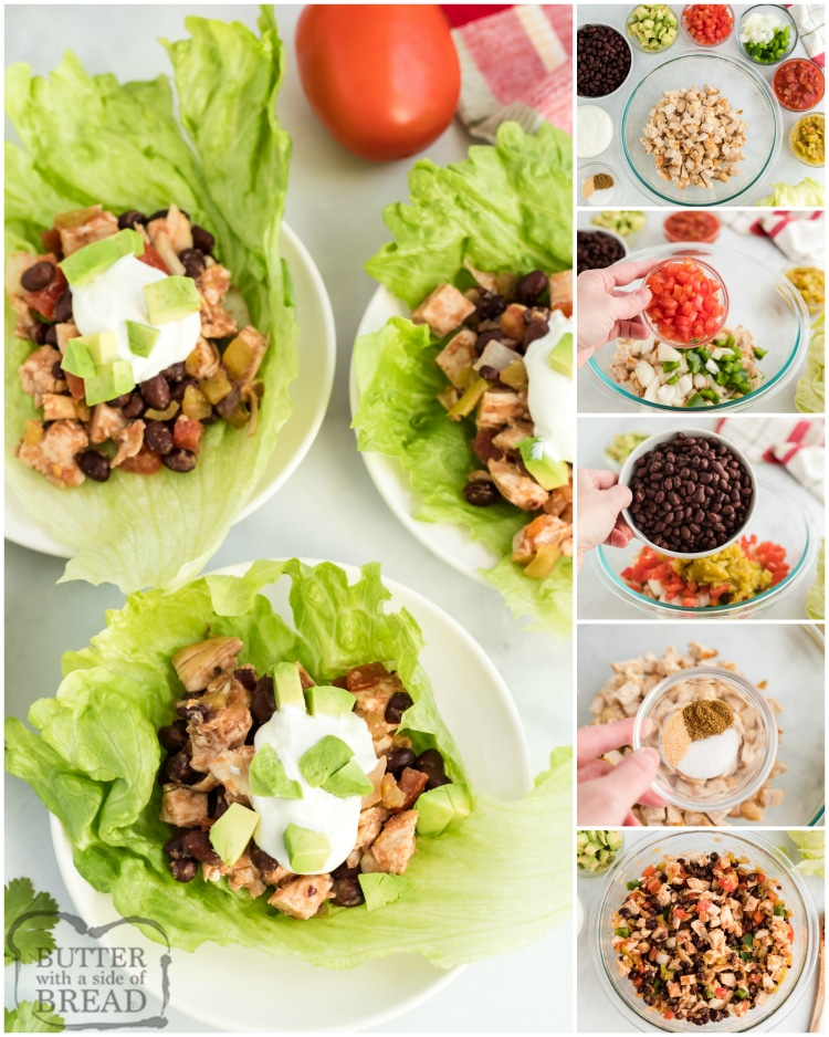 Step by step instructions on making chicken lettuce wraps