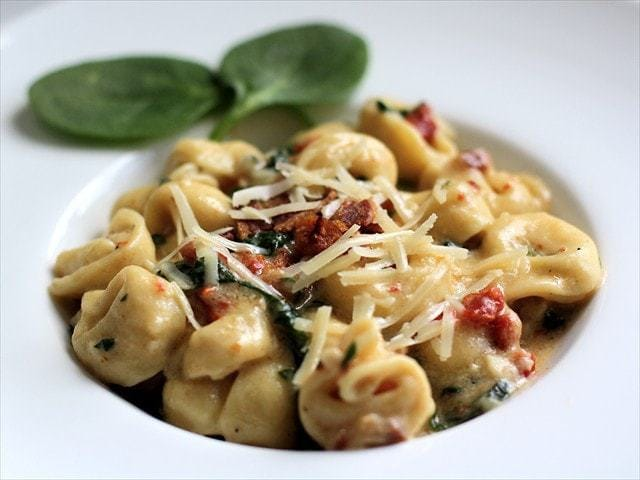 Skillet Spinach Tortellini with Sun Dried Tomatoes: Butter, with a Side of Bread