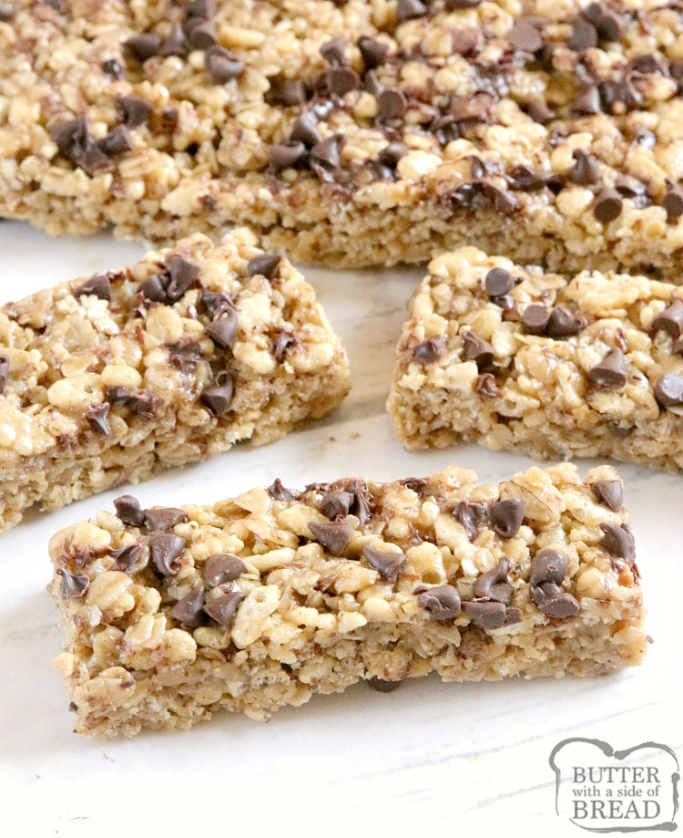 Homemade Granola Bars are so easy to make and taste better than the store bought variety! This easy granola bar recipe is filled with oats, rice cereal, honey, peanut butter, flaxseed and coconut oil.