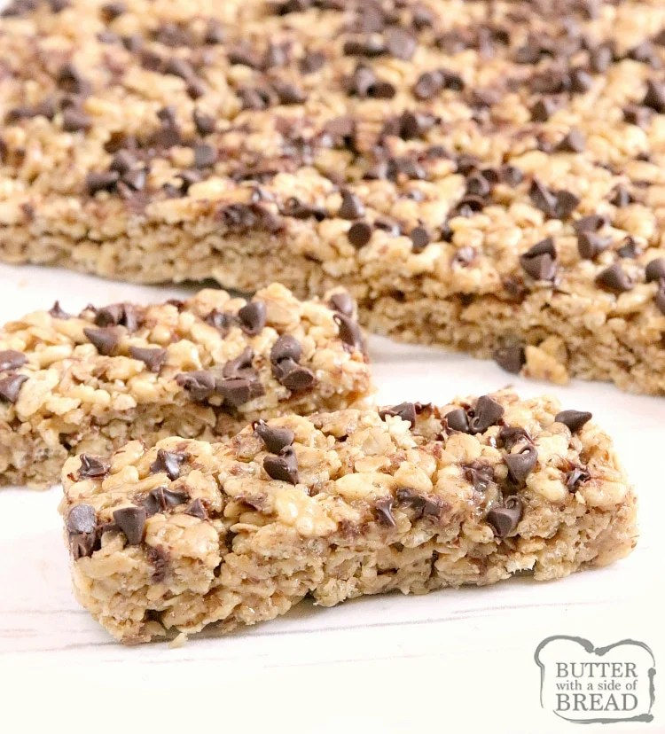 Homemade granola bars with oats and chocolate chips
