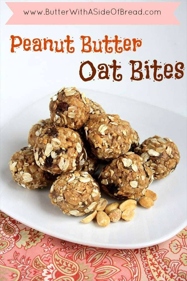 Peanut Butter Oat Bites are a mom's dream snack and the kids love them too! They are full of protein and peanut buttery goodness so everyone loves them!