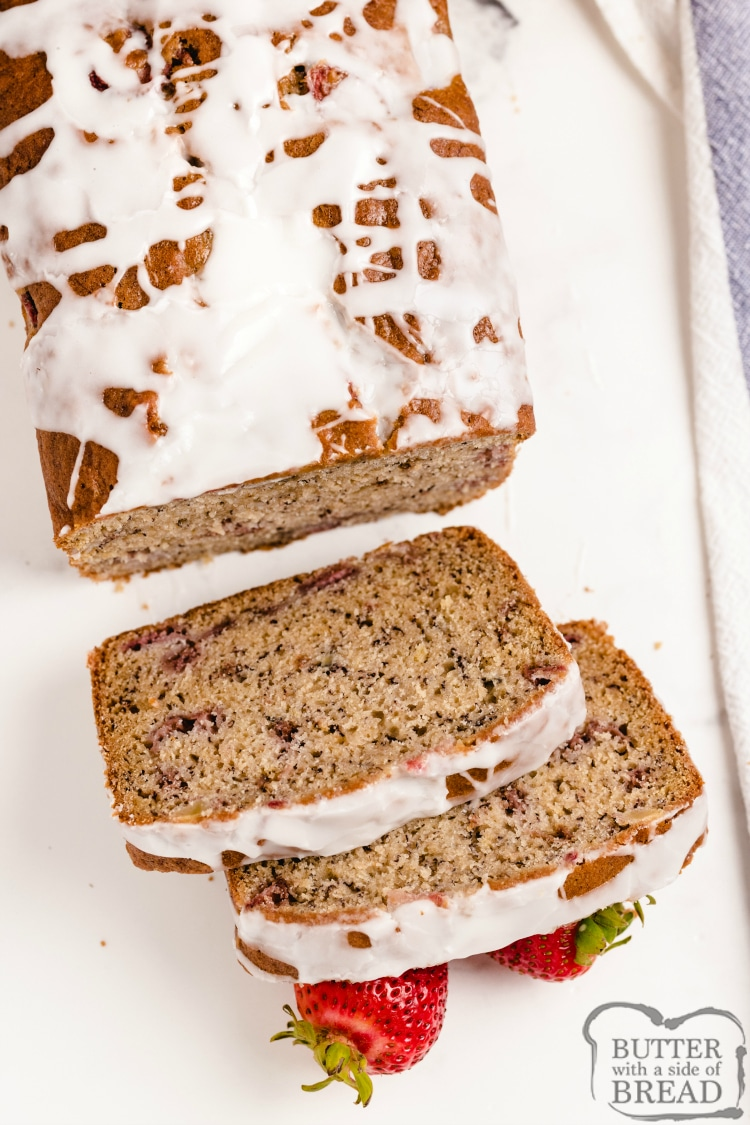 Banana bread with strawberries and lemon glaze