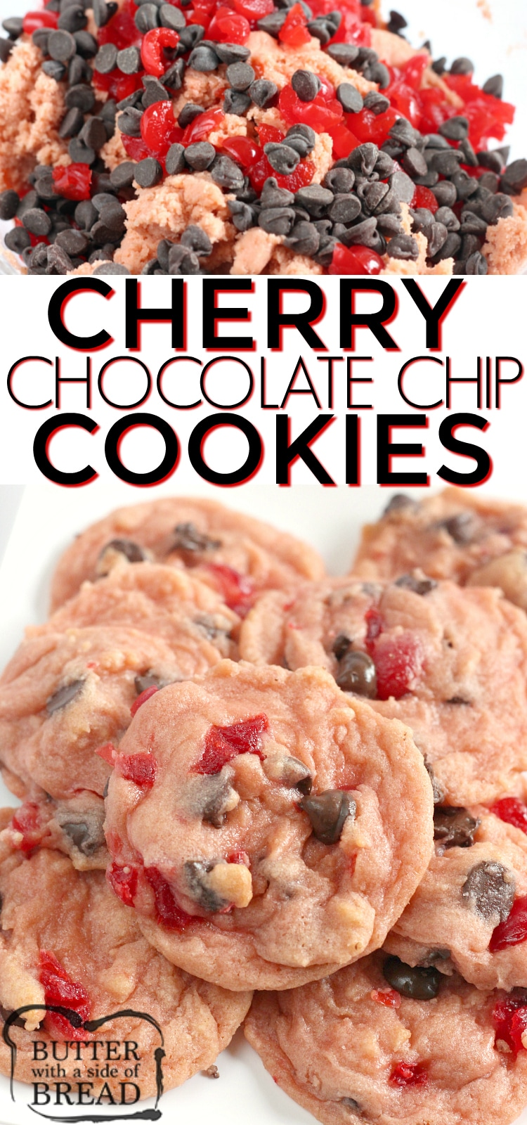 Cherry Chocolate Chip Cookies are soft, chewy and full of cherries and chocolate chips. This chocolate chip cookie recipe is a delicious twist on a classic favorite!