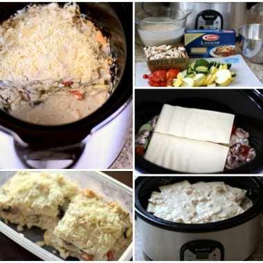 Chicken Alfredo Crock Pot Lasagna