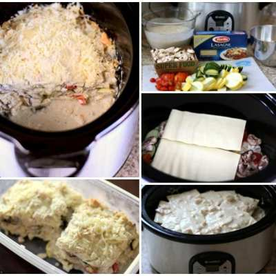 CROCKPOT CHICKEN & VEGETABLE ALFREDO LASAGNA