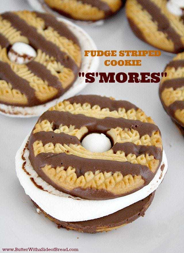 Fudge Striped Cookie S'mores - the easiest way ever to make s'mores, with just the right balance of cookie, marshmallow and chocolate! You can make these around the campfire or all year round in your oven at home.