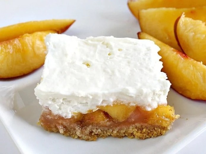 Butter with a Side of Bread: No-Bake Peaches & Cream Bars