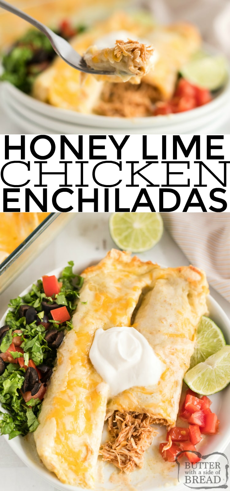 Honey Lime Chicken Enchiladas are made with a little bit of honey, a little bit of lime and a delicious creamy green sauce. This easy chicken enchilada recipe is so simple and the flavors are incredible!