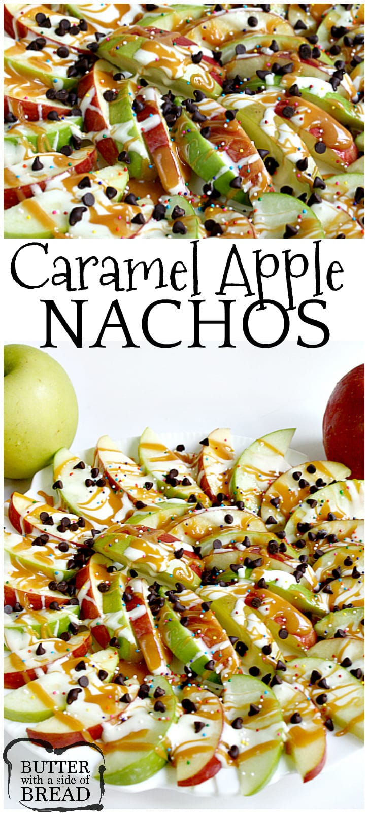 Caramel Apple Nachos are easily made by topping sliced apples with caramel, melted marshmallows, chocolate chips and sprinkles!