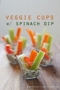 veggie cups with spinach dip, butter with a side of bread