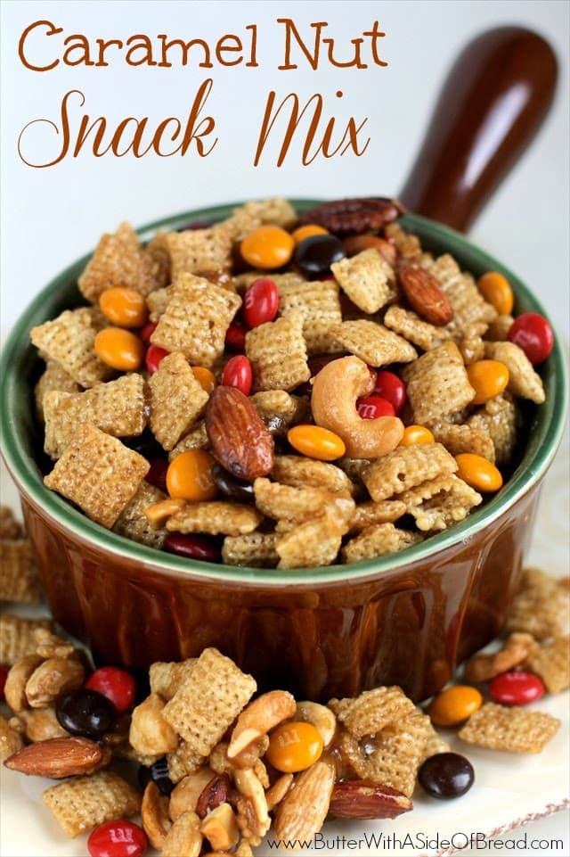 Caramel Nut Snack Mix is a crunchy combination of Chex cereal, nuts and M&M's that's so delicious your whole family will love it!