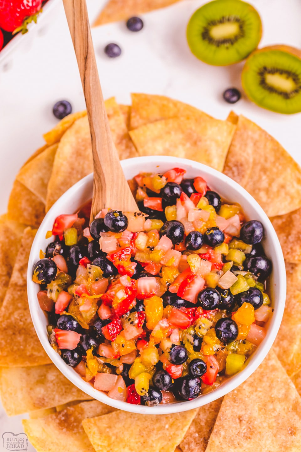 Fresh Fruit Salsa with Baked Buttery Cinnamon Chips recipe