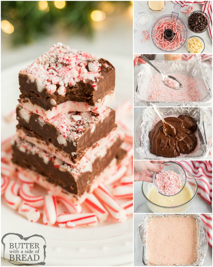 Step by step instructions on making candy cane fudge