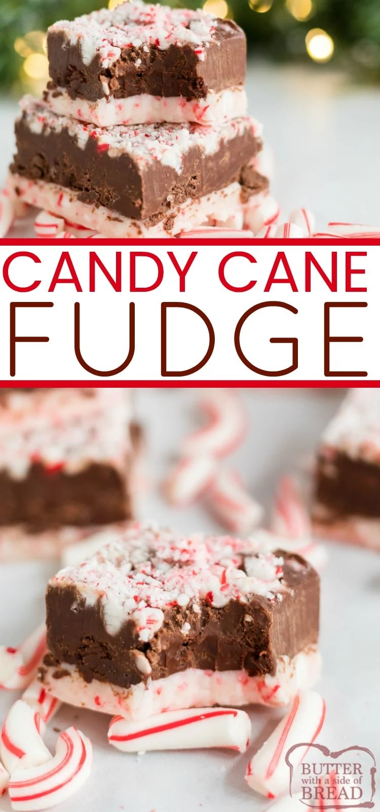 Candy Cane Fudge has a white chocolate peppermint layer on the bottom, a creamy fudge layer in the middle and crushed candy canes on top.  This easy peppermint fudge recipe is easily made in the microwave with only 6 ingredients!