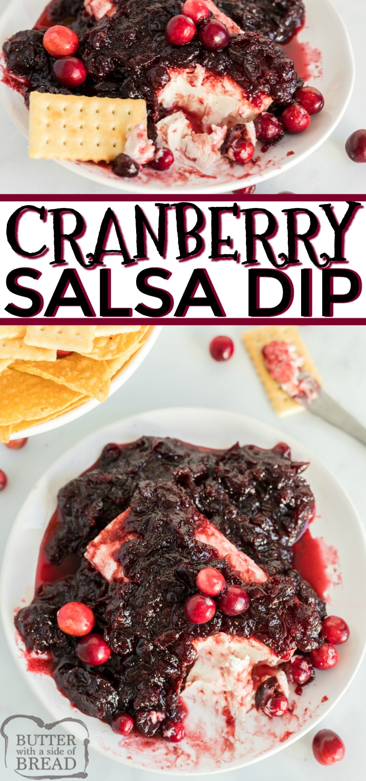 Cranberry Salsa Dip is made with cranberries, sugar and spices, and then poured over cream cheese to make a delicious holiday appetizer recipe. This simple dip recipe is perfect for parties and goes well with chips and crackers.