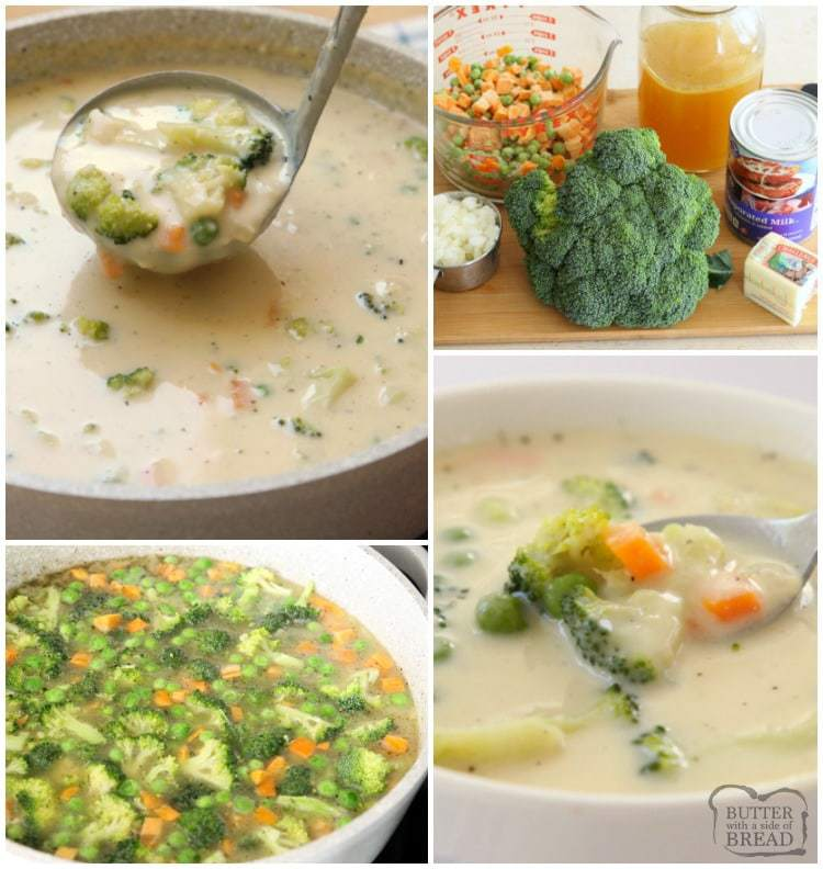 Creamy Vegetable Soup made easy in 30 minutes or less! Simple, flavorful & comforting vegetable soup recipe perfect for cold nights.Time saving tips too!
