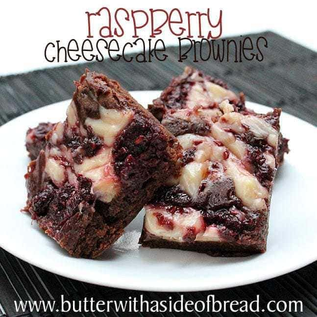 Raspberry Cheesecake Brownies:Butter with a side of bread