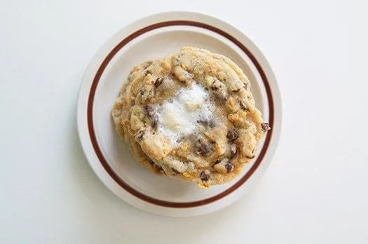 momofuku milk bar cornflake marshmallow chocolate chip cookies, butter with a side of bread