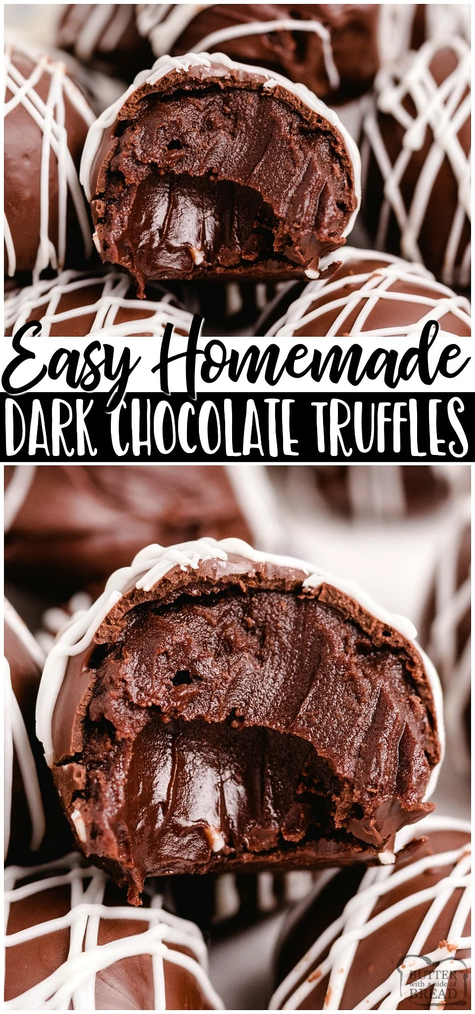 Homemade Dark chocolate Truffles made with just 5 ingredients and SO amazing! Chocolate chips, heavy cream and butter combine for a rich & smooth luscious chocolate truffle filling you make easily at home! #chocolate #truffles #homemade #candy #dessert #easyrecipe from BUTTER WITH A SIDE OF BREAD