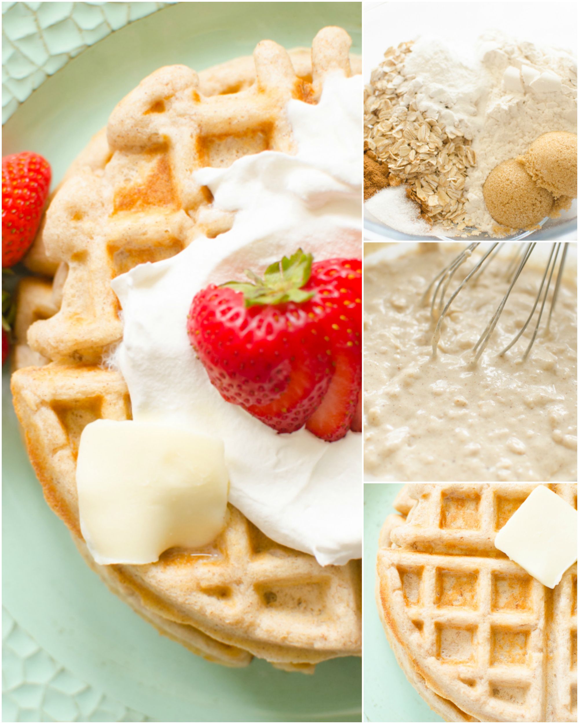 Oatmeal Waffles made fresh for breakfast with oats, cinnamon and several other basic ingredients that you likely have on hand. This oatmeal waffle recipe can be topped with berries, bananas and whipped cream for a delicious and hearty breakfast with lots of nutrition and flavor!