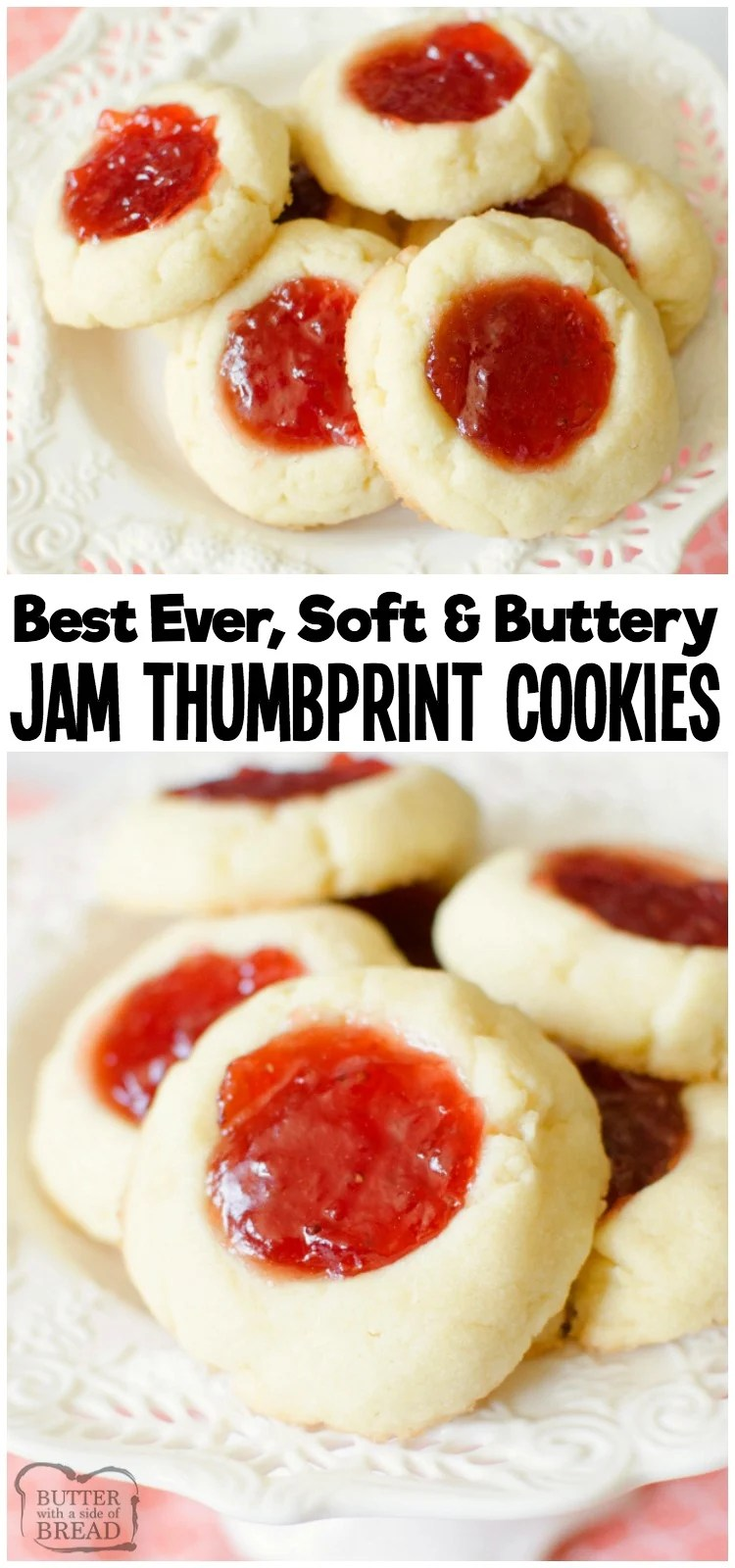 Easy recipe for Soft Jam Thumbprint Cookies perfect for the holidays! Buttery cookies with great flavor, filled with your favorite sweet jam. Perfect for Christmas cookie exchanges! #cookies #recipe #baking #dessert #thumbprints #cookie #jam #Christmas from BUTTER WITH A SIDE OF BREAD