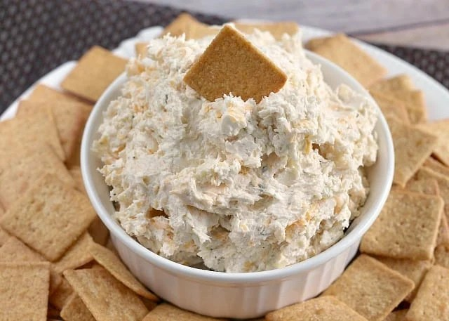 Ranch Chicken Cheese Dip is the perfect appetizer for parties! This cream cheese dip recipe is made with chicken, cream cheese, cheddar cheese and ranch dressing - that's it!