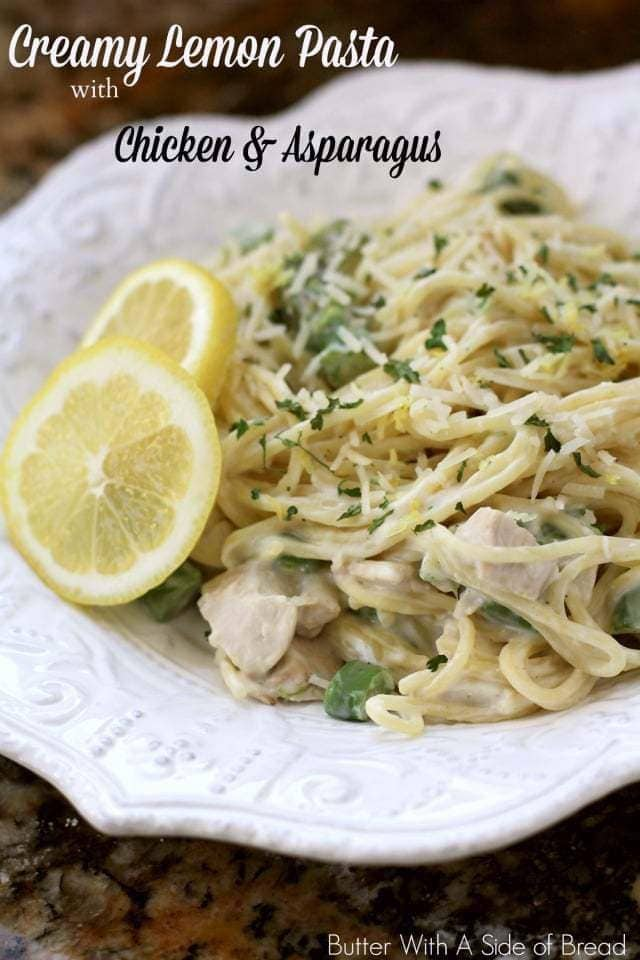 Creamy Lemon Chicken Pasta with Asparagus made easy with juicy chicken, fresh lemon and vegetables and a light, creamy sauce. Perfect weeknight #chicken #pasta #dinner from Butter With A Side of Bread