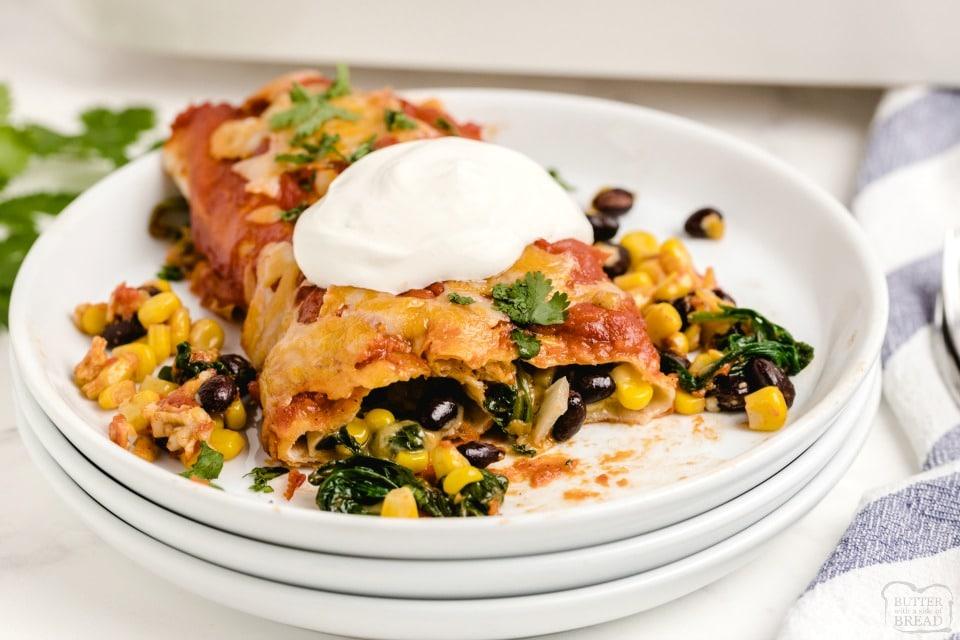 Spinach Black Bean Vegetarian Enchiladas recipe