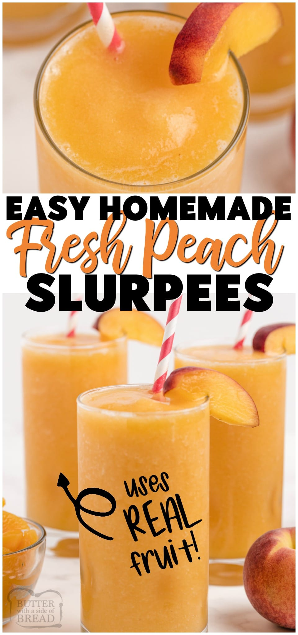 Homemade Peach Slurpees ~ only 3 ingredients & minutes to make! Combine fresh fruit, sugar (or substitute) and something to add some fizz & you've got your own Homemade Slurpees!#freshfruit #fruit #peaches #slurpee #homemade #dessert #summer #recipe from BUTTER WITH A SIDE OF BREAD