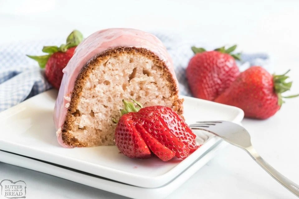 Glazed Strawberry Bundt Cake made with strawberry jam and buttermilk & topped with a sweet, fruity glaze! Easy Homemade Bundt Cake recipe with great strawberry flavor throughout!