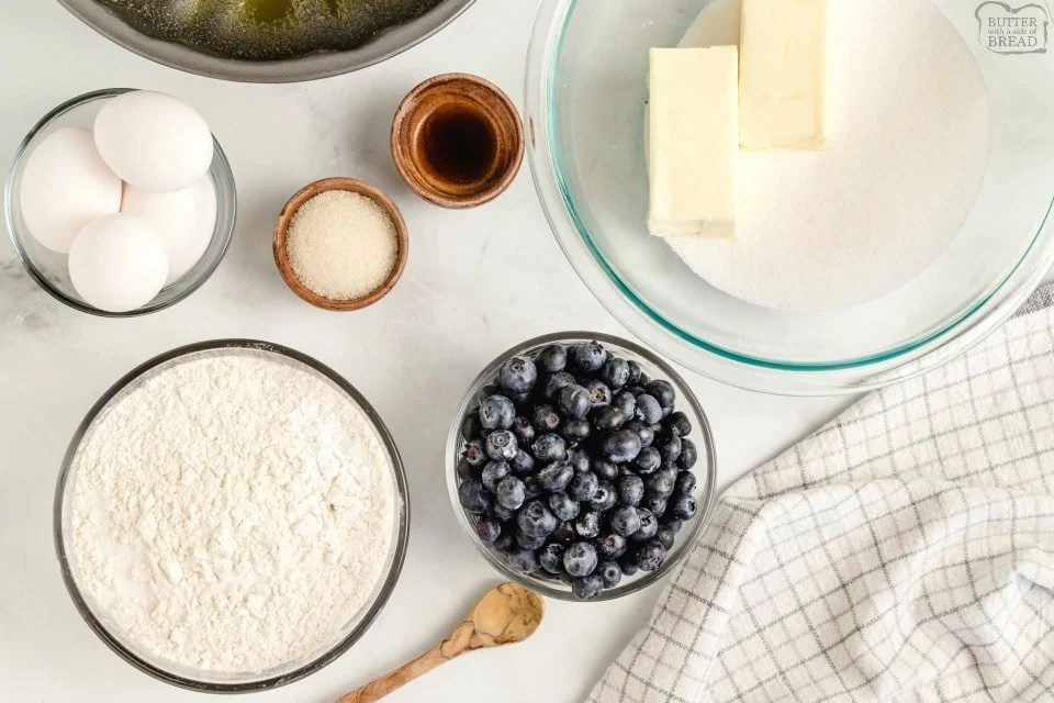 Blueberry Pound Cake recipe ingredients