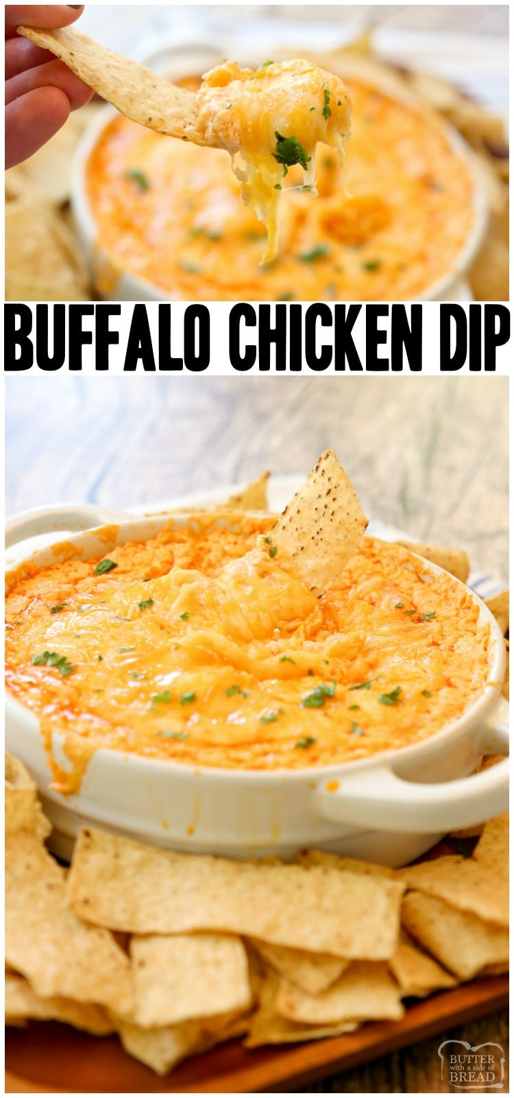 Easy Buffalo Chicken Dip Recipe made with 3 cheeses, juicy chicken and a flavorful Buffalo sauce makes an awesome chicken wing dip with a bit of a kick. Easy Buffalo Chicken Dip is an easy appetizer perfect for game day. #easybuffalochickendip #buffalochickendip #buffalosauce #chickenwingdip #buffalochickenrecipe #buffalochicken #spicychicken #chickendip #easyappetizer #recipefrom Butter With a Side of Bread